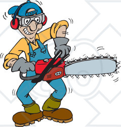 Clipart Illustration of a Tree Trimmer Starting Up His Chainsaw ...