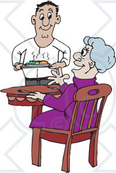 Clipart Illustration of a Sweet Man Serving An Elderly Lady Dinner In A Retirement Home