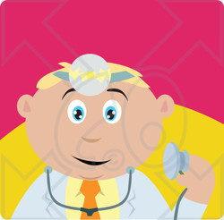 Clipart Illustration of a Caucasian Doctor Man Holding A Stethoscope