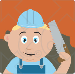Clipart Illustration of a Caucasian Construction Worker Boy Holding A Saw