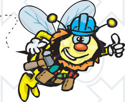 Clipart Illustration of a Honey Bee Character Construction Worker Wearing A Hardhat