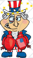 Clipart Illustration of an American Uncle Sam Boxer With A Black Eye And Stars