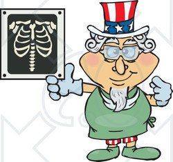 Clipart Illustration of an American Uncle Sam Radiologist Pointing To An Xray