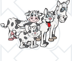 Clipart Illustration of a Cloned Matching Cat, Dog, Horse And Cow