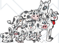 Clipart Illustration of a Rabbit, Mouse, Fish, Cat, Bird, Pig, Dog, Cow And Horse With Matching Cloned Coats
