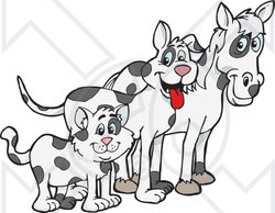 Clipart Illustration of a Cloned Matching Cat, Dog And Horse