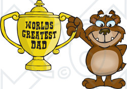 Royalty-free (RF) Clipart Illustration of a Bear Character Holding A Golden Worlds Greatest Dad Trophy