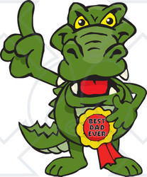 Royalty-free (RF) Clipart Illustration of a Gator Character Wearing A Best Dad Ever Ribbon