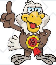 Royalty-free (RF) Clipart Illustration of a Bald Eagle Character Wearing A Best Dad Ever Ribbon