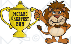 Royalty-free (RF) Clipart Illustration of a Lion Wildcat Character Holding A Golden Worlds Greatest Dad Trophy