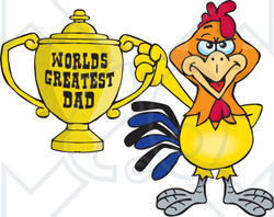 Royalty-free (RF) Clipart Illustration of a Rooster Bird Character Holding A Golden Worlds Greatest Dad Trophy