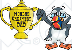 Royalty-free (RF) Clipart Illustration of a Puffin Bird Character Holding A Golden Worlds Greatest Dad Trophy