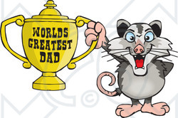 Royalty-free (RF) Clipart Illustration of an Opossum Character Holding A Golden Worlds Greatest Dad Trophy