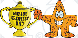 Royalty-free (RF) Clipart Illustration of a Starfish Character Holding A Golden Worlds Greatest Dad Trophy