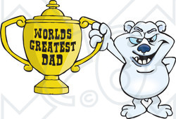 Royalty-free (RF) Clipart Illustration of a Polar Bear Character Holding A Golden Worlds Greatest Dad Trophy
