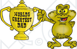Royalty-free (RF) Clipart Illustration of a Toad Character Holding A Golden Worlds Greatest Dad Trophy