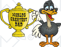 Royalty-free (RF) Clipart Illustration of an Ostrich Bird Character Holding A Golden Worlds Greatest Dad Trophy