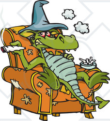 Royalty-Free (RF) Clipart Illustration of a Dragon Sitting In A Chair And Smoking Dope