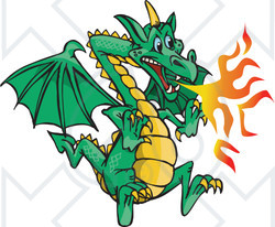 Royalty-Free (RF) Clipart Illustration of a Flying Green Fire Breathing Dragon