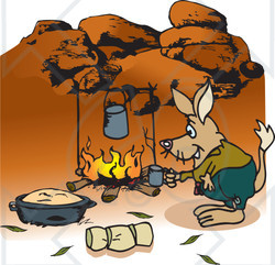 Royalty-Free (RF) Clipart Illustration of a Bilby Camping And Cooking Over A Fire In The Outback