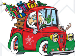 Royalty-Free (RF) Clipart Illustration of Santa Waving And Driving A Pickup Truck Sleigh