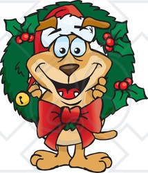 Royalty-Free (RF) Clipart Illustration of a Sparkey Dog Poking His Head Through A Christmas Holly Wreath