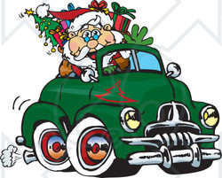 Royalty-Free (RF) Clipart Illustration of Santa Waving And Driving A Green Fj Holden Truck Sleigh