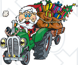 Royalty-Free (RF) Clipart Illustration of a Peaceful Santa Driving A Tractor Sled