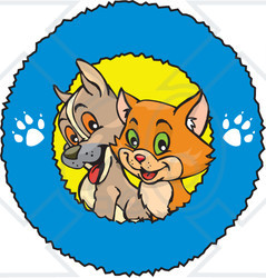 Royalty-Free (RF) Clipart Illustration of a Cute Puppy And Cat In A Blue Paw Print Ring Logo