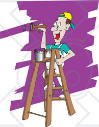 Royalty Free Rf Clipart Illustration Of A Happy Man Painting A