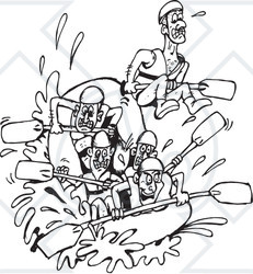 Royalty-Free (RF) Clipart Illustration of a Black And White Team Of White Water Rafters