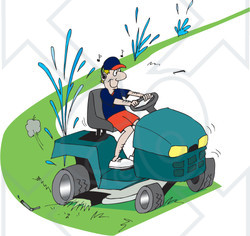 Royalty-Free (RF) Clipart Illustration of a Clueless Man Running Over Sprinklers While Riding A Lawn Mower