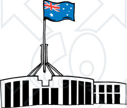 Royalty-Free (RF) Clipart Illustration of an Australian Flag Atop The Parliament House, Canberra