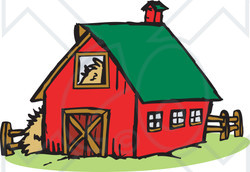 Illustration Of A Red Farm Barn With A Green Roof