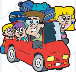 Royalty free rf clipart illustration of a family on a road trip