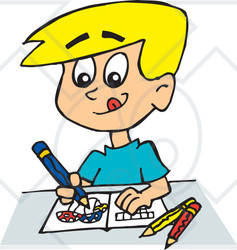 Royalty-Free (RF) Clipart Illustration of a Blond Boy Drawing And ...