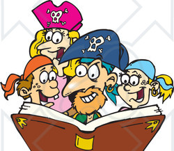 Royalty-Free (RF) Clipart Illustration of a Family Dressed As Pirates, Reading A Story Book
