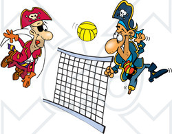 Royalty-Free (RF) Clipart Illustration of Pirate Guys Playing Volleyball