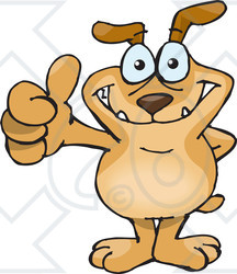 Royalty-Free (RF) Clipart Illustration of a Sparkey Dog Standing And Giving The Thumbs Up