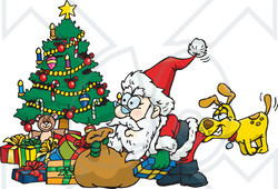 Royalty-Free (RF) Clipart Illustration of a Dog Biting Santa's Butt As He Unloads Presents Under A Christmas Tree