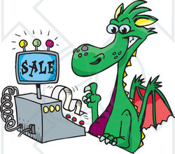 Royalty-Free (RF) Clipart Illustration of a Green Dragon Clerk Using A Cash Register