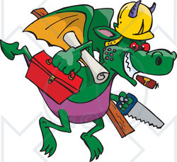 Royalty-Free (RF) Clipart Illustration of a Builder Dragon Flying With Tools