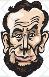 Royalty-Free (RF) Clipart Illustration of a Caricature Face Of A Man, President Abraham Lincoln