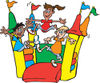 Happy Children Jumping on a Colorful Castle Bouncy House 2