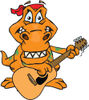 Cartoon Happy T Rex Dinosaur Playing an Acoustic Guitar