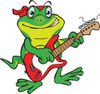 Cartoon Happy Gecko Playing an Electric Guitar
