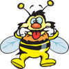 Bumble Bee Character Pulling Back His Lips While Making A Funny Face
