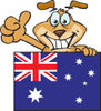 Friendly Brown Dog Grinning And Waving While Standing Behind An Australian Flag