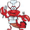 Clipart Illustration of a Friendly Chef Lobster Holding a Spatula and Fork