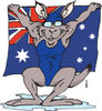 Aussie Swimmer Kangaroo Dripping Wet And Holding Up An Australian Flag